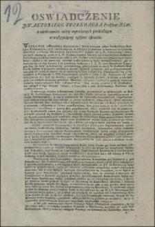 Oswiadczenie J.W. Antoniego Tyzenhauza Podskar: N: Litt: z okoliczności niżej wyrażonych pochodzące w następuiącey opisane osnowie
