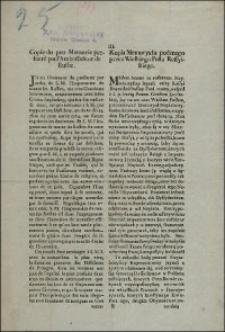 Kopia Memoryału podanego przez Wielkiego Posła Rossyiskiego = Copie du pro Memoria presenté par l'Ambassadeur de Russie