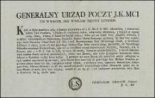 Generalny Urząd Poczt J.K.Mci Tak W Koronie, Jako W Wielkim Xięztwie Litewskim. [Inc.:] Kiedy w Roku przeszłym 1765. wydanym Uniwersałem [...]