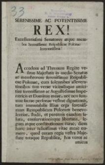 Serenissime Ac Potentissime Rex! Excellentissimi Senatores atque membra Serenissimae Reipublicae Polonae honoratissima!
