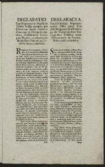 Deklaracya Nayiaśnieyszey Imperatorowey JMCi przez Xcia JMCi Repnina Posła Wielkiego do Nayiaśnieyszey Rzeczypospolitey Polskiey zkonfederowaney na Seymie Roku 1766. uczyniona