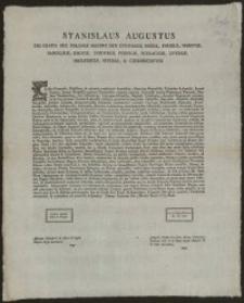 Stanislaus Augustus Dei Gratia Rex Poloniae Magnus Dux Lithvaniae, Russiae, Prussiae, Masoviae [...]. [Inc.:] Vobis Generosis, Nobilibus, et cujusvis conditionis hominibus