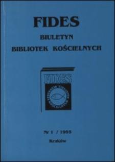 Fides : biuletyn bibliotek kościelnych. 1995, nr 1