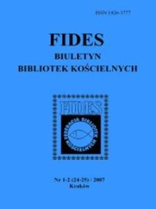 Fides : biuletyn bibliotek kościelnych. 2007, nr 1/2 (24/25)