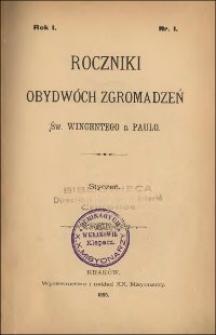 Roczniki Obydwóch Zgromadzeń św. Wincentego a Paulo. R. 1, nr 1-4 (1895)