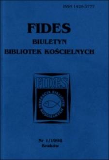 """Automatyzacja procesów biblioteczno-informacyjnych w świetle działalności Federacji Bibliotek Kościelnych """"Fides"""""""
