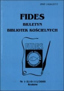 Fides : biuletyn bibliotek kościelnych. 2000, nr 1/2. Część urzędowa (s. 1-40)