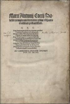 Marci Antonij Coccij Sabellici exemplorum libri decem: ordine elegantia et vtilitate prestantissimi