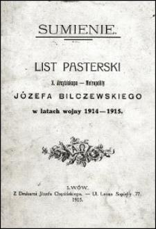 Sumienie : list pasterski X. Arcybiskupa-Metropolity Józefa Bilczewskiego w latach wojny 1914-1915