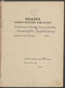 Biblioteka Akademii Teologii Katolickiej - Inwentarz Nr 8