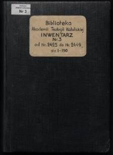 Biblioteka Akademii Teologii Katolickiej - Inwentarz Nr 3