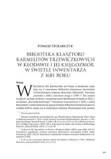 Biblioteka klasztoru karmelitów trzewiczkowych w Kłodawie i jej księgozbiór w świetle inwentarza z 1681 roku