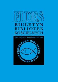 Fides : biuletyn bibliotek kościelnych. R. 25, nr 1 (2019)
