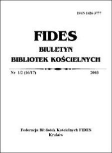 Contents (FIDES Biuletyn Bibliotek Kościelnych 2003 nr 1-2)