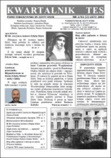 Kwartalnik TES : pismo Towarzystwa im. Edyty Stein. 2002, nr 2 (2)