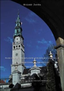 Materiały do bibliografii publikacji o zakonach i zgromadzeniach zakonnych w Polsce 1945-2000. T. 2, Instytuty życia konsekrowanego