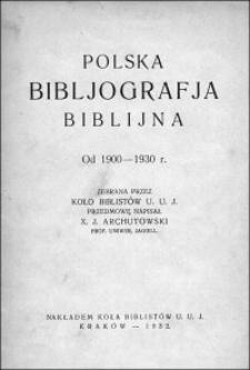 Polska bibljografja biblijna : od 1900-1930 r.
