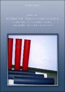 Katalog rozpraw doktorskich i habilitacyjnych o zakonach i zgromadzeniach zakonnych w Polsce (1945-2000)