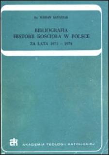 Bibliografia historii Kościoła w Polsce : za lata 1973-1974